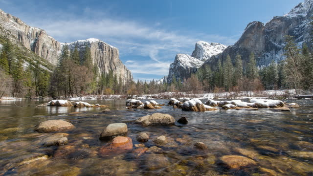 valley view yosemite after snowfall - yosemite national park stock videos & royalty-free footage