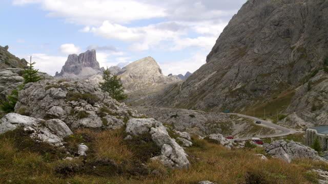 valparola pass in the dolomites mountains pan - ww1 battle stock videos & royalty-free footage