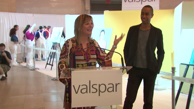 valspar's susanne champ on artist stephen burks conceiving today's exhibition as a celebration of new york city how the new paint will be used in... - claire danes stock videos and b-roll footage