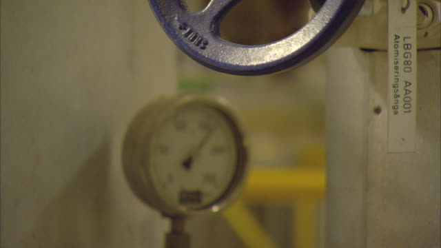 cu r/f valve and systems gauge inside biomass plant / vaxjo, sweden - vaxjo stock videos & royalty-free footage
