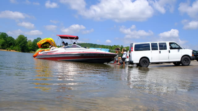a van is used to launch a boat at monroe lake's paynetown boat ramp sunday august 16 near bloomington indiana a car was driven into the lake and... - boat ramp stock videos & royalty-free footage