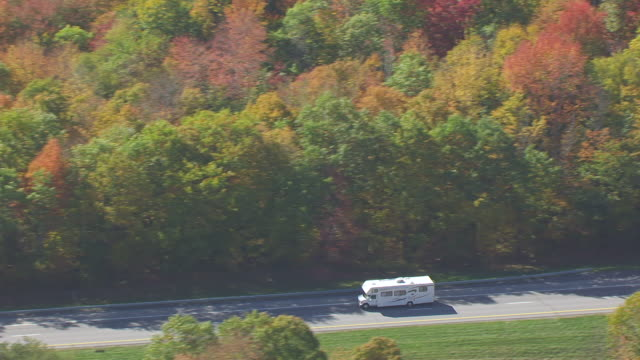 ws ts aerial pov van moving on interstate 89 with forest area / washington county, windsor county, bethel, vermont, united states - camper van stock videos and b-roll footage