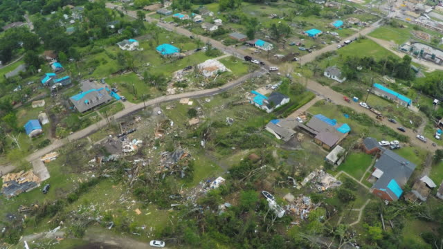 Van Texas Tornado Aftermath Aerial