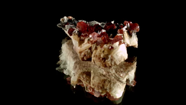 vanadinite - rotating mineral on black - crystal stock videos & royalty-free footage