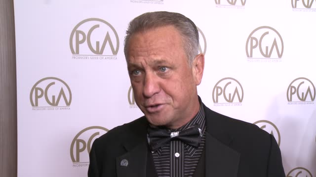 stockvideo's en b-roll-footage met interview vance van petten of the pga on the event at 25th annual producers guild awards at the beverly hilton hotel on in beverly hills california - van
