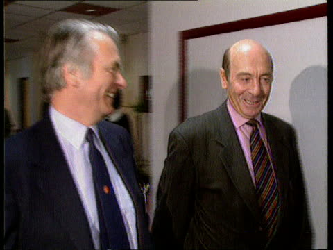 vance-owen peace plan; itn lib belgium: brussels: nato hq cms lord david owen along l-r to bv with dr manfred worner - bosnia and hercegovina stock videos & royalty-free footage
