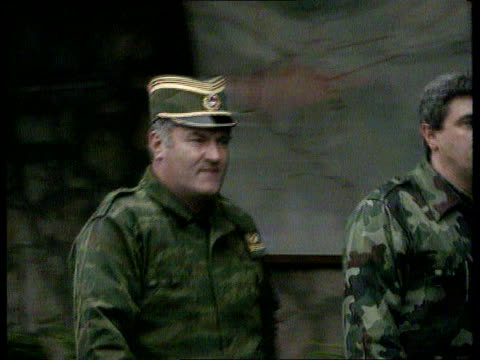 vance-owen peace plan; pale pool ext pale cms gen ratko mladic along with other soldier l-r & shakes another soldier - ratko mladic stock videos & royalty-free footage