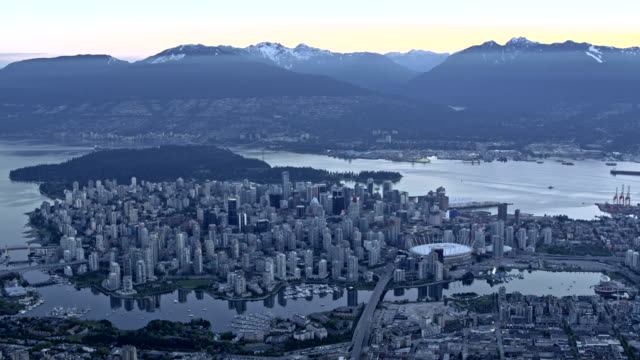 aerial vancouver at dusk - vancouver canada stock videos and b-roll footage