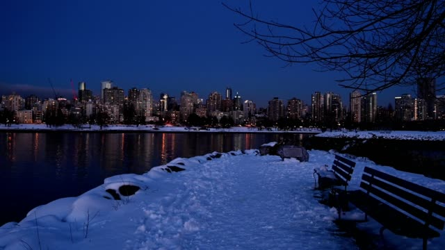 vancouver cityscape with fresh snow - vancouver canada stock videos & royalty-free footage