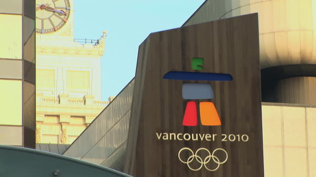cu vancouver olympic sign, vancouver, british columbia, canada - british columbia stock videos & royalty-free footage