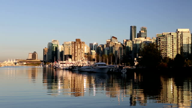 vancouver skyline stanley park coal harbour - vancouver canada stock videos and b-roll footage