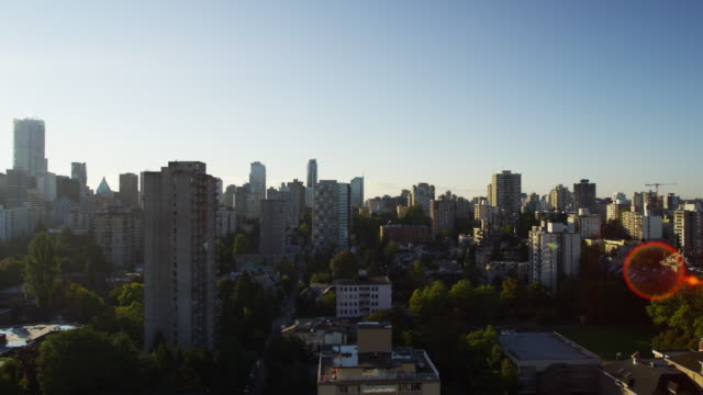 Vancouver skyline sunrise view skyscrapers and residential living