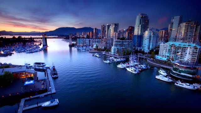 vancouver waterfront at dusk, canada - waterfront stock videos & royalty-free footage