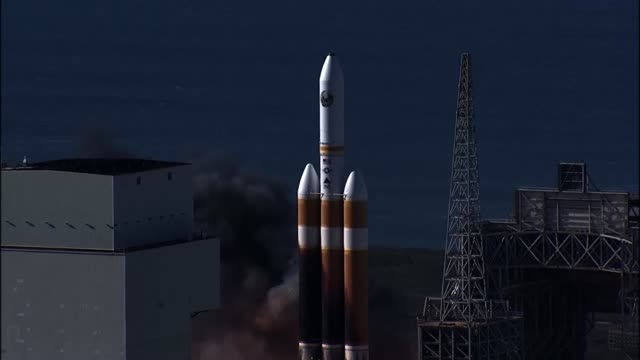vandenberg successfully launches a united launch alliance delta iv heavy rocket carrying a national reconnaissance office payload took place on 19... - launch event stock videos & royalty-free footage