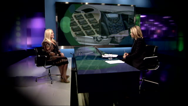 stockvideo's en b-roll-footage met vanessa feltz being interviewed on more 4 news sot - vanessa feltz