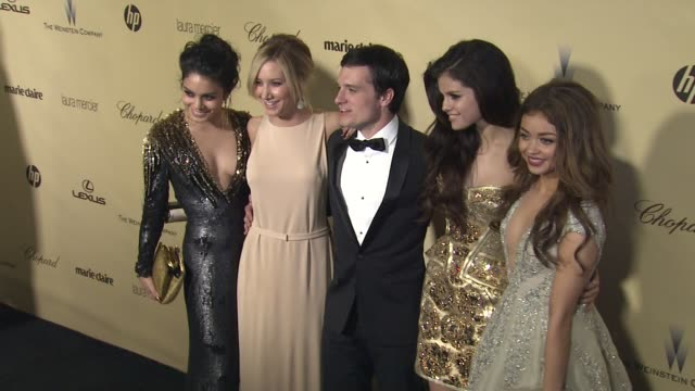 vanessa hudgens ashley tisdale josh hutcherson selena gomez sarah hyland at the weinstein company's 2013 golden globe awards after party on 1/13/13... - ashley tisdale stock videos and b-roll footage