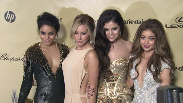 vanessa hudgens ashley tisdale selena gomez sarah hyland at the weinstein company's 2013 golden globe awards after party on 1/13/13 in beverly hills... - ashley tisdale stock videos and b-roll footage