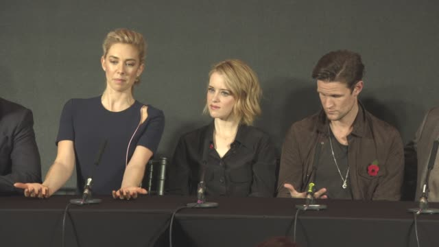 INTERVIEW Vanessa Kirby Claire Foy on the customs the budgets Michele Clapton wearing the crown feeling at one with god at 'The Crown' Press...