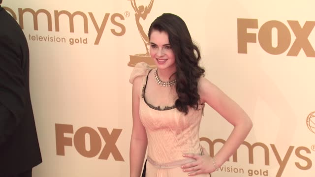 vanessa marano at the 63rd primetime emmy awards arrivals part 1 at los angeles ca - 63rd annual primetime emmy awards stock videos and b-roll footage