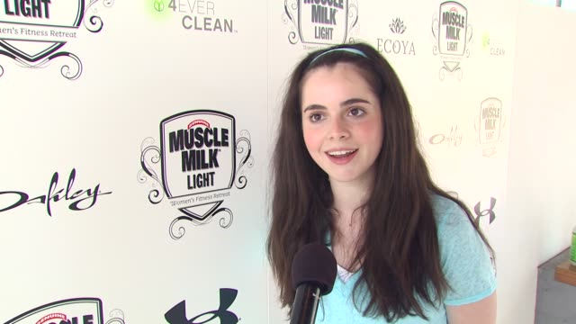 vanessa marano on what brings her out to the muscle milk women's fitness retreat if she prefers to hit the gym or take classes how muscle milk helps... - vanessa marano stock videos and b-roll footage