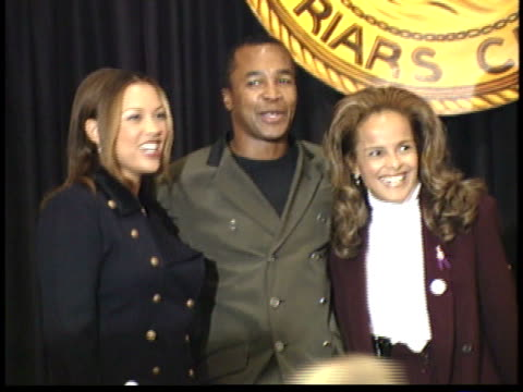 vanessa williams sugar ray leonard and sherry belafonte posing for paparazzi on stage before ceremony - friars roast 1993 stock videos and b-roll footage