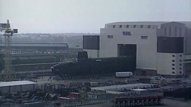 vanguard submarines under construction in barrow bsp040392013 / tx various shots 'vanguard' class hms vanguard [first trident nuclear submarine... - trident stock videos & royalty-free footage