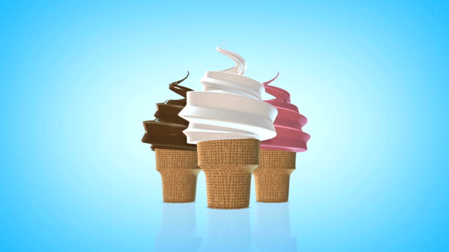 Vanilla, Chocolate  and Strawberry Soft Serve Ice Cream Cone
