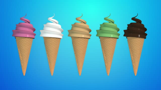vanilla, chocolate, strawberry, mint and mocha ice cream cone (alpha channel, so you can put your own background) - ice cream cone stock videos & royalty-free footage