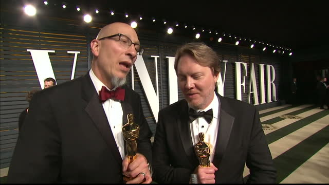 vanity fair oscars party arrivals at the wallis annenberg center for the performing arts in beverly hills exterior interview roy conli and don hall... - oscar party stock-videos und b-roll-filmmaterial