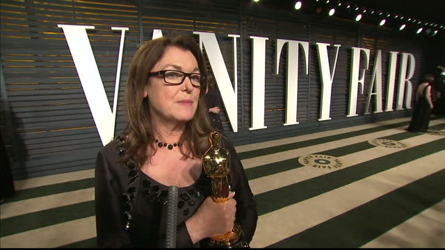 vanity fair oscars party arrivals at the wallis annenberg center for the performing arts in beverly hills exterior interview frances hannon make up... - oscar party stock-videos und b-roll-filmmaterial