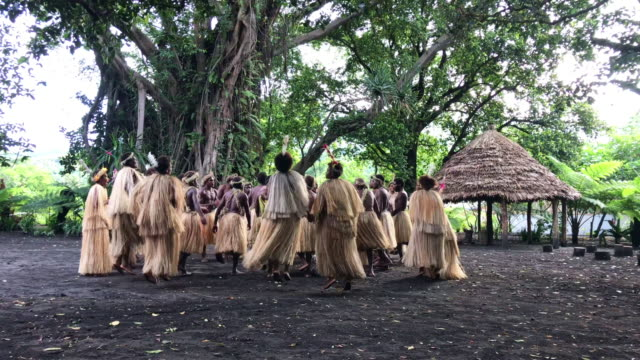Vanuatu Tanna Island Rainforest Indigenous Tribe Community Dancing 4K Video