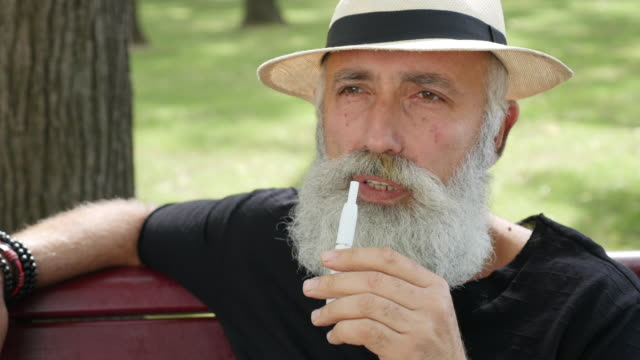 vaping - brief. bearded happy man smoking an electronic cigarette in the park - straw hat stock videos and b-roll footage