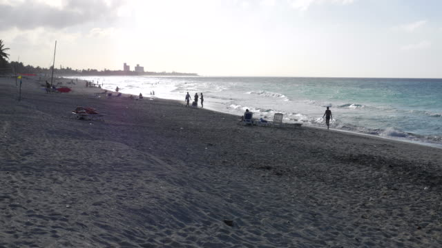 varadero beach at sunset, matanzas, cuba - varadero beach stock videos and b-roll footage