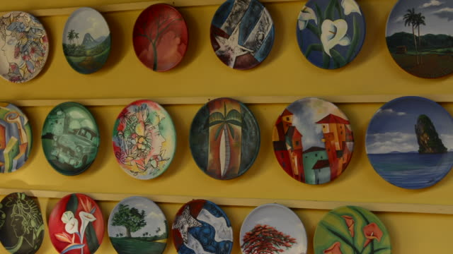 varadero beach cuba plates artwork in store to sell to tourists - varadero stock videos and b-roll footage