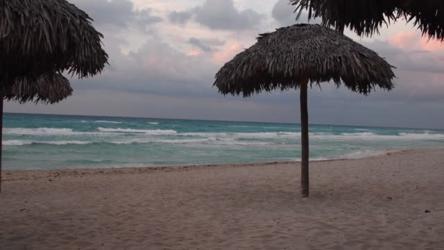 varadero beach in a bad tropical weather day. colorful sunset with clouds, there are some palm leaf umbrellas in the sand. varadero,  matanzas, cuba - varadero stock videos and b-roll footage