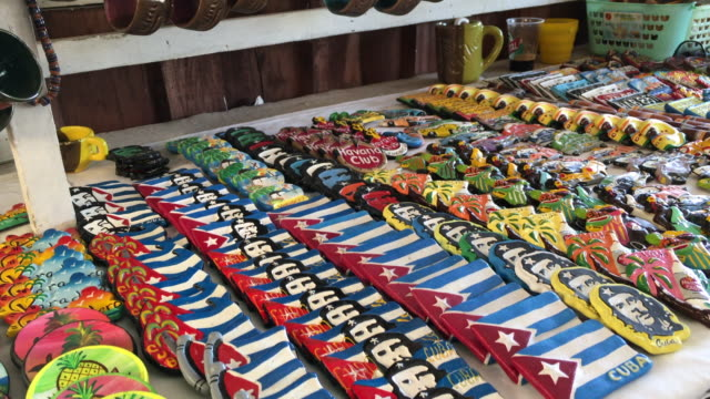 varadero, cuba: souvenirs for sale on a market table - varadero stock videos and b-roll footage