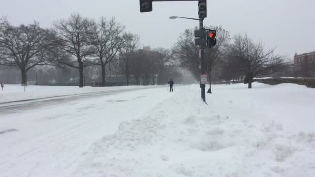 Varied shots from Winter Storm Jonas in Washington DC Clip 1 a cross country skier on a road Clip 2 a cathedral in the blizzard Clip 3 snow plows at...