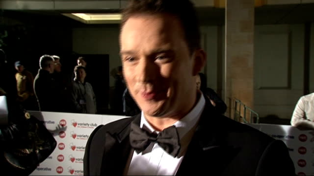 variety club showbiz awards 2010: celebrity arrivals; russell watson interview sot - thrilled to be here / his new album / the x-factor - wagner /... - the x factor stock videos & royalty-free footage