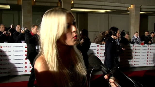 variety club showbiz awards 2010: celebrity arrivals; zoe salmon interview sot - on how kerry katona will have to work hard if she is on dancing on... - zoe salmon stock videos & royalty-free footage