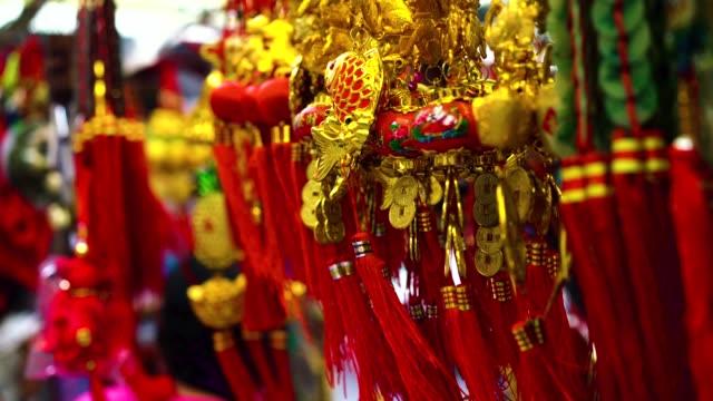 vidéos et rushes de variété de décorations colorées de chinoises à vendre - décoration de fête