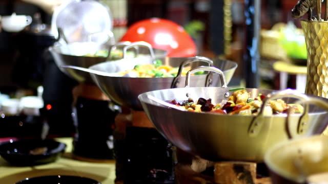 variety of menu in buffet line