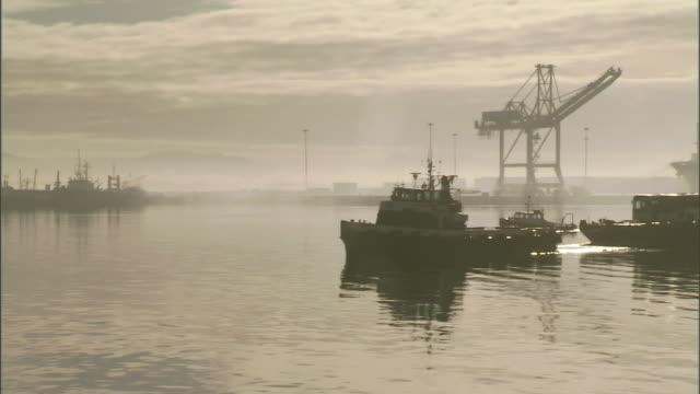 a variety of ships sail across a harbor. - タグボート点の映像素材/bロール