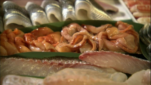 a variety of sushi items fill a wooden tray. - nigiri stock videos and b-roll footage