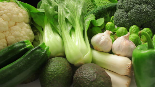 cu pan variety of vegetables / london, united kingdom - broccoli stock videos & royalty-free footage
