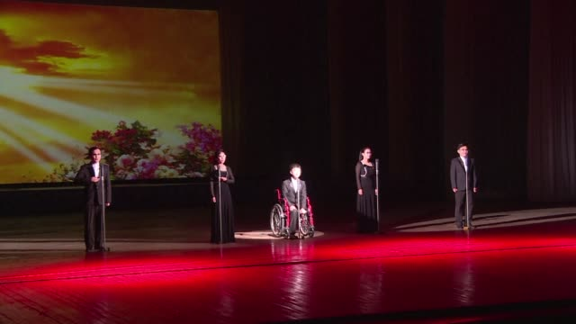 a variety show performed by disabled north korean artists marks the countrys day for persons with disabilities - persons with disabilities stock videos & royalty-free footage