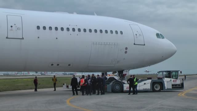 varios shots of the airbus a340 passenger plane that skidded off the runway at the ataturk international airport in istanbul turkey on april 22 2017... - taxiway stock videos & royalty-free footage