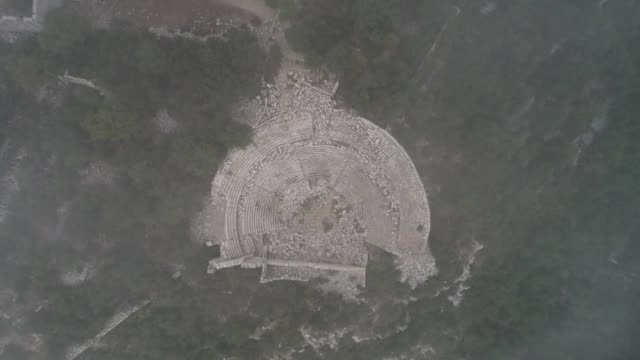 various aerial shots from termessos ancient city in the mediterranean resort city of antalya turkey on september 04 2018 the ancient city of... - mediterranean turkey stock videos and b-roll footage