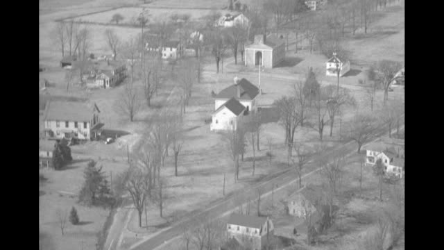 various aerial shots of homes and buildings in lebanon / note exact year not known - new london county connecticut stock videos & royalty-free footage