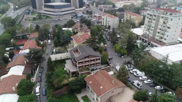 various aerial shots of the consulate general of saudi arabia as waiting continues on the killing of prominent saudi journalist jamal khashoggi in... - istanbul stock videos & royalty-free footage