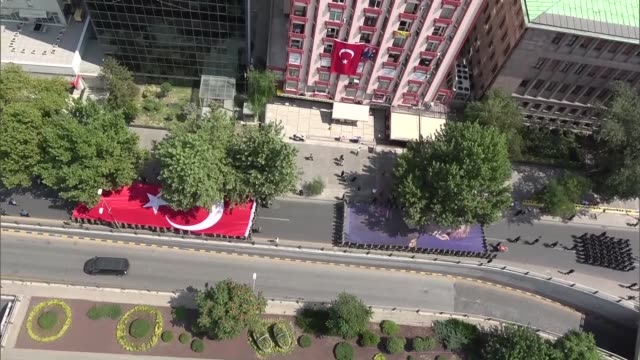 Various aerial shots of the military parade is held during the celebrations to mark the 95th Anniversary of Turkey's Victory Day which commemorates...